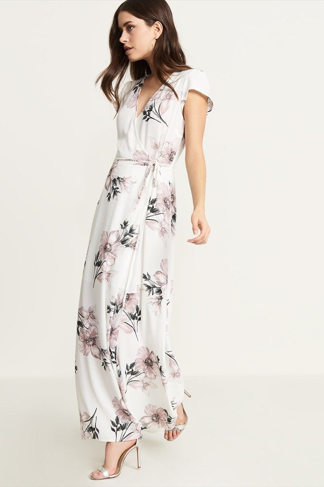 Belted Wrap Front Maxi Dress