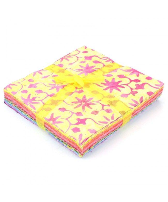 LOUDelephant Cotton Batik Charm Pack Pre Cut Fabric Bundle - Yellows to Purples
