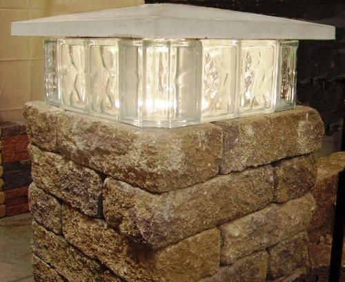 brainstorm fodder: glass block as a tier of a middle tier of a stacked-brick-ring fire pit?