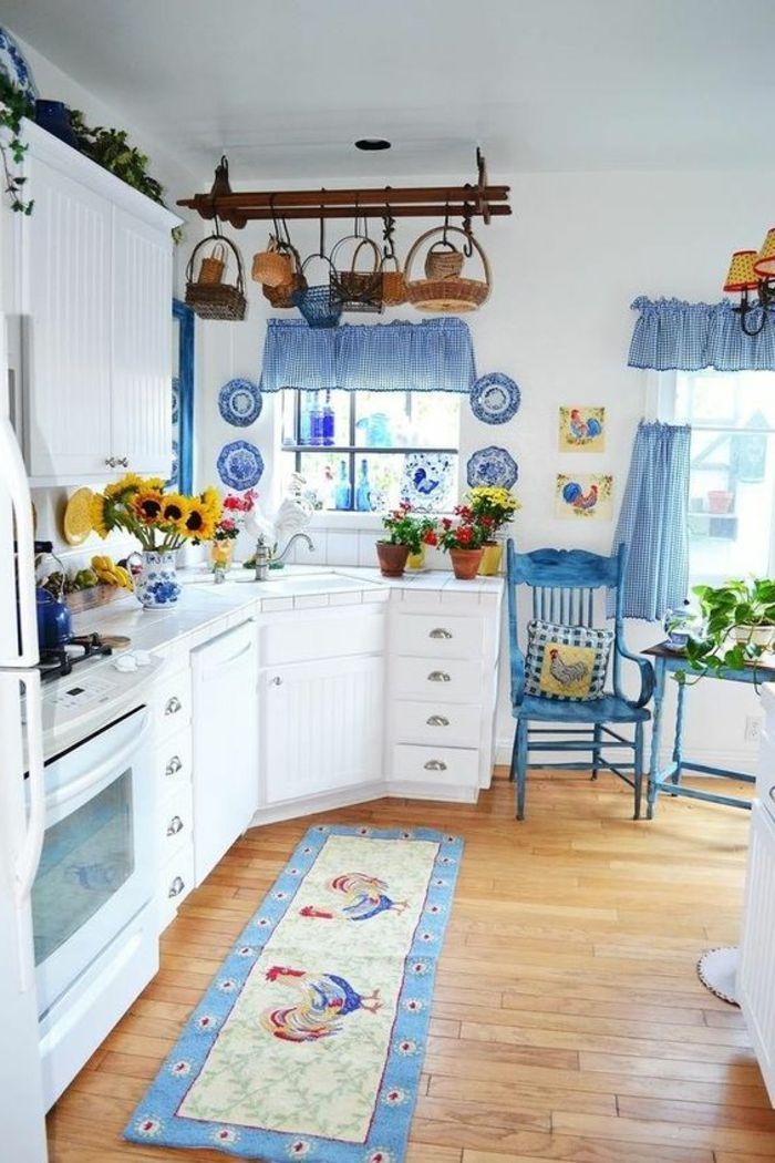 retro kitchen with country house and shabby decor blue and white