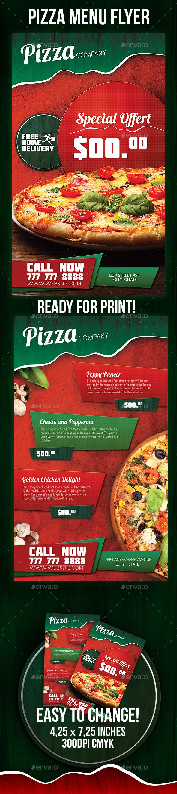 Pizza Menu Flyer Template #design Download: http://graphicriver.net/item/pizza-menu-flyer/9332720?ref=ksioks