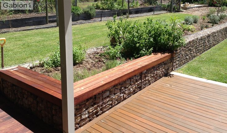 Low Gabion Wall With Timber Seating Http Www Gabion1 Com