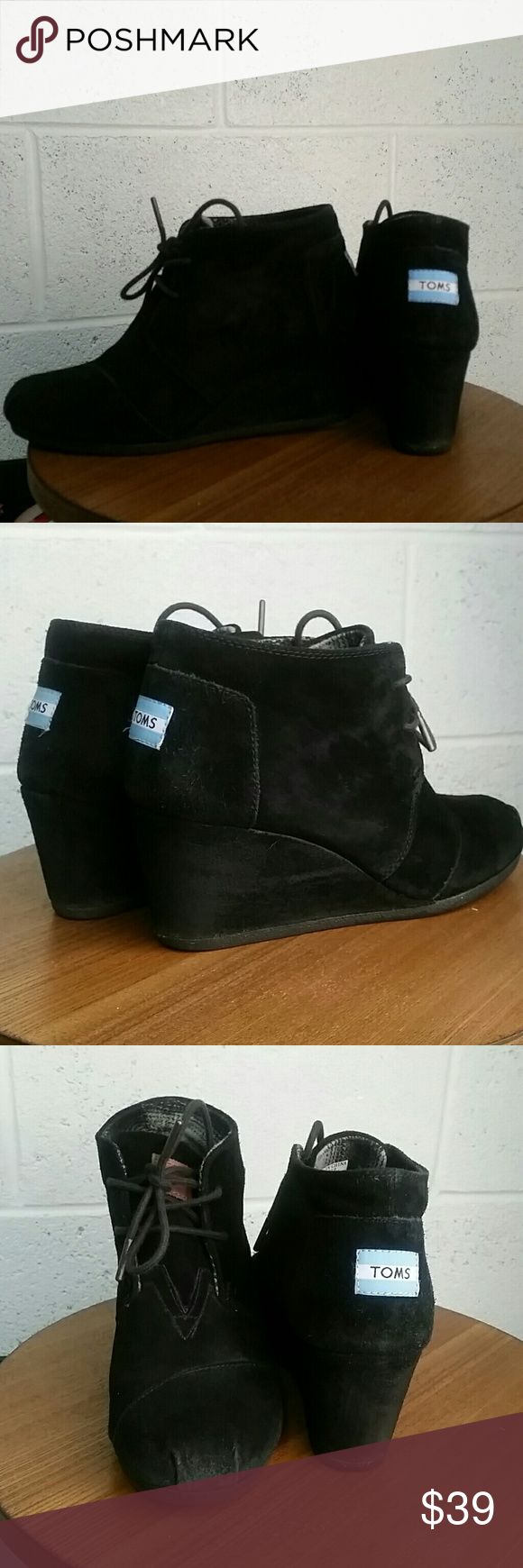 Black Toms wedge booties, 8.5 Black Tom's wedge booties TOMS Shoes Ankle Boots & Booties