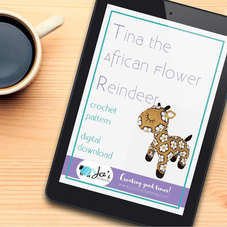 Download your Tina the African Flower Reindeer crochet pattern right now on Etsy!  https://www.etsy.com/se-en/listing/514290603/tina-the-african-flower-reindeer-crochet?ref=shop_home_active_31 www.joscrocheteria.com #crochetafricanflowerpattern #crochetpattern #crochetafricanflower #crochetchristmas #africanflowerpattern #crochetreindeer #crochetafricanpattern #crochetforkids