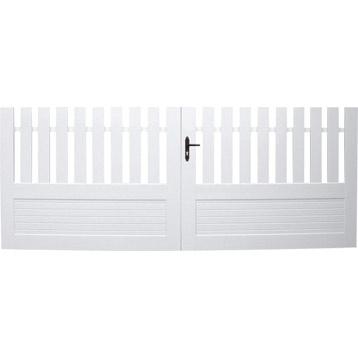 Portail PVC battant Queven, coloris blanc, 110 x 350cm