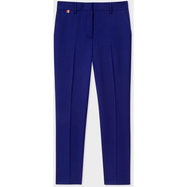 Paul Smith A Suit To Travel In - Women's Slim-Fit Indigo Wool Trousers ($330) ❤ liked on Polyvore featuring pants, wool pants, tailored trousers, slim trousers, slim pants and travel pants