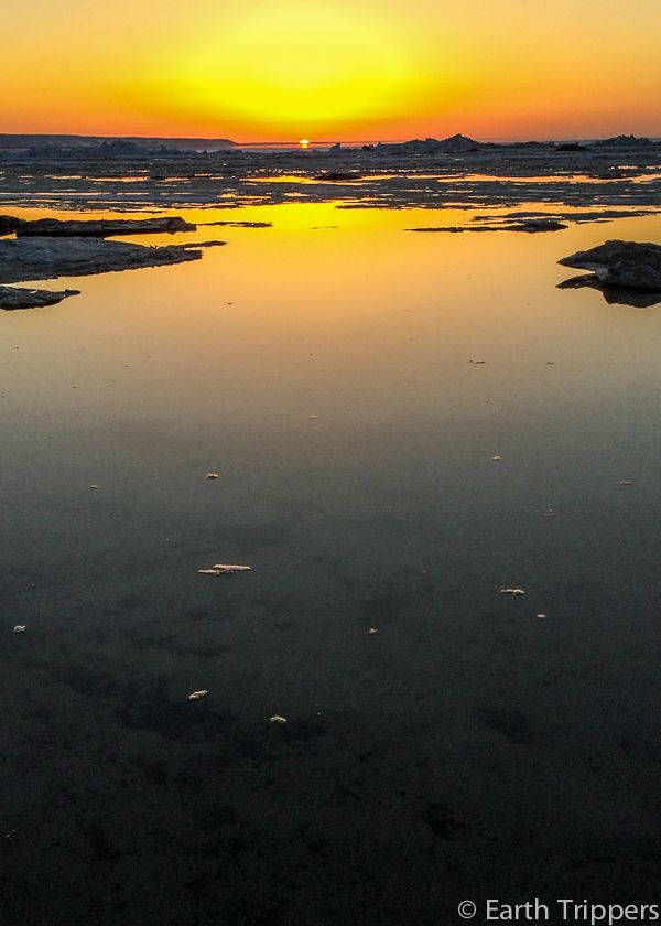 As the ice breaks up at the end of winter, you get a scene of little islands floating in the calm Wasaga Beach waters.