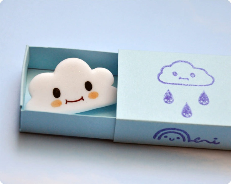 Cute Smiling Cloud FIMO brooch.