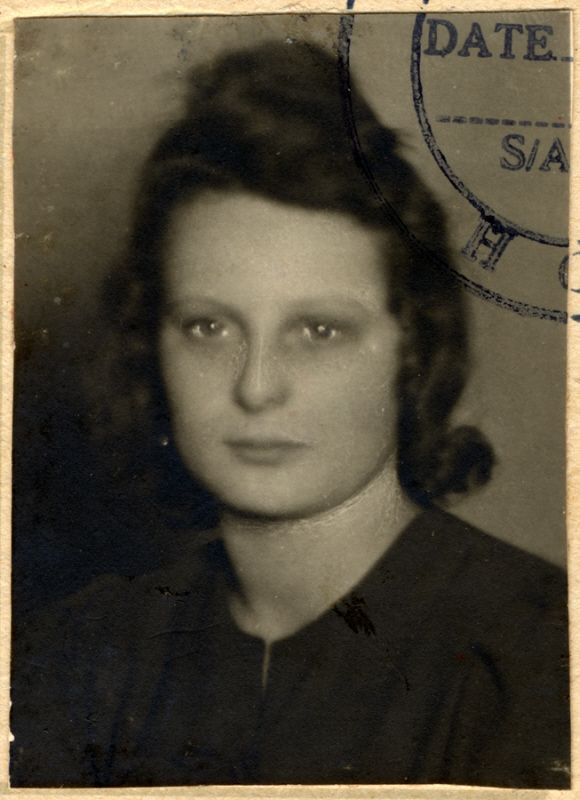 Studio portrait attached to the identification card for political prisoners issued to Edith Wakschlag.