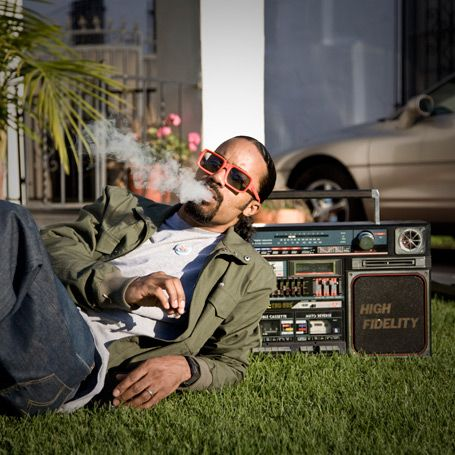 Dam Funk chillin' on a summer's day with a Lasonic TRC-935!