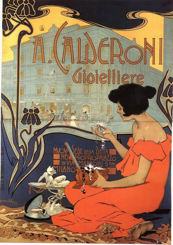 A. Calderoni Gioielliere (Jewellery) poster, 1898, by Adolf Hohenstein (1854–1928). Colour lithograph on paper. Founded by Adone Calderoni in Milan in 1840, for decades the Calderoni shop was the only true jewellery shop in Milan. Art Nouveau