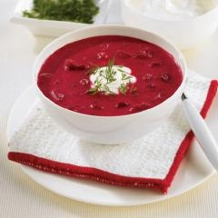 Greek Yogurt Borscht:  We put our twist on this vibrant beet soup by adding our creamy Greek yogurt instead of the traditional sour cream.