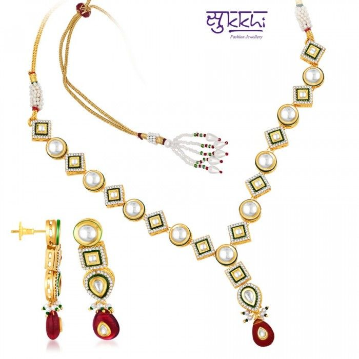 Traditionally CZ Gold and Rodium plated Necklace Set | High5Store.com