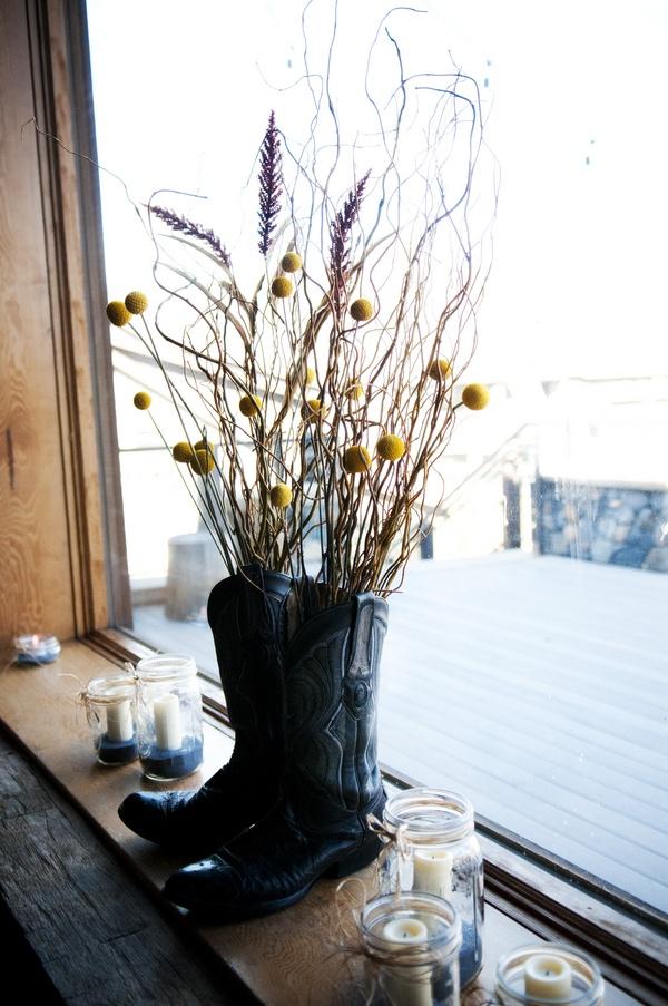 Cowboy Boots, Wedding Ideas, Country Weddings, Flower Arrangements, Wedding Boots, Fall Weddings, Fun Vessel, Boots Flower, Yellow Flower