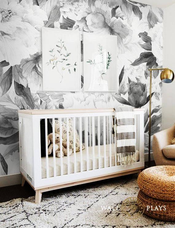 Pivoines Fleurs Mural Noir Peel Stick Tissu Papier Peint A Dos Adhesif Repositionnable Et Amovible Il Peut Eg Baby Room Decor Nursery Wallpaper Flower Mural
