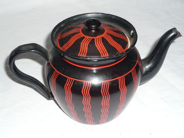 THEIERE TOLE EMAILLEE ANCIENNE   TEAPOT FORMER(OLD) ENAMELLED SHEET STEEL
