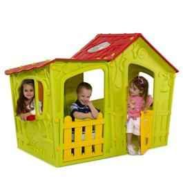 The Keter Magic Villa Green and Red Childrens Plastic Playhouse will provide your children with hours of fun in this fantastic Magic House This fun brightly coloured playhouse is a unique style playhouse which constructed from injection moulded plastic and includes a stable door and windows on each side.