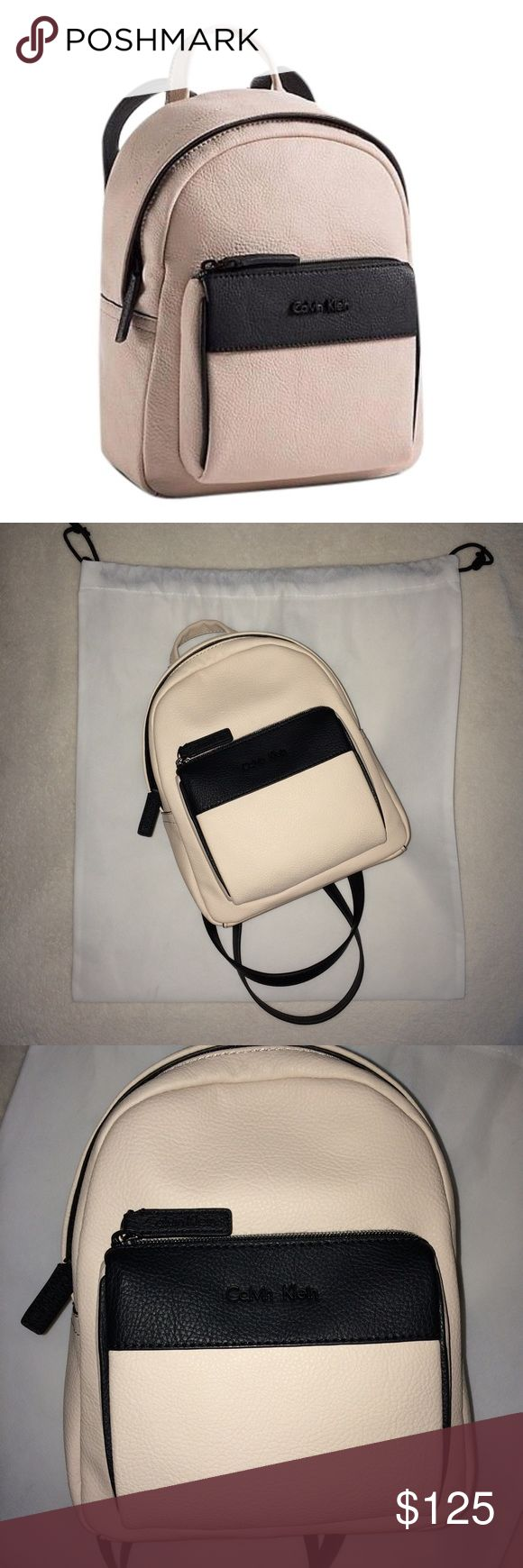 Calvin Klein Kira Backpack Brand new with tags attached, mini backpack but has many pockets inside and slots to hold everything you need. It's kind of a mix between a creamy tan, but also looks like a very pale pink but only very slightly  still beautiful nonetheless and matches pretty much anything! Comes with big CK drawstring bag :) 100% authenticity guaranteed NO TRADES Calvin Klein Bags Backpacks