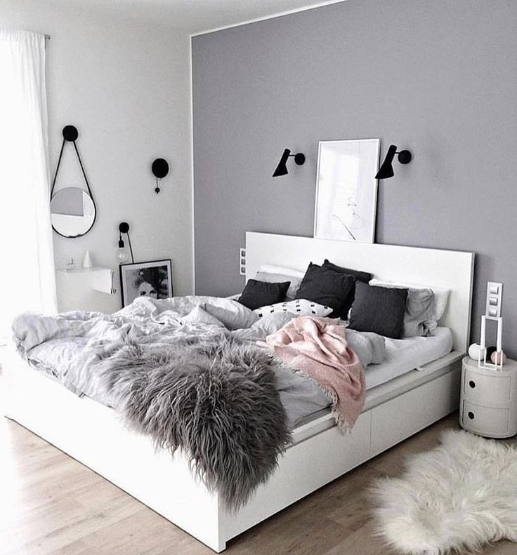 White Malm bed with 4 storage boxes under bed