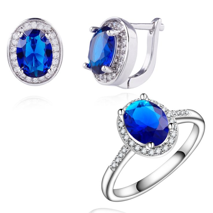 Yunkingdom trendy Jewelry Sets for women white Gold Plated Wedding Earrings Blue zircon crystal Rings Set  wholesale LPG6