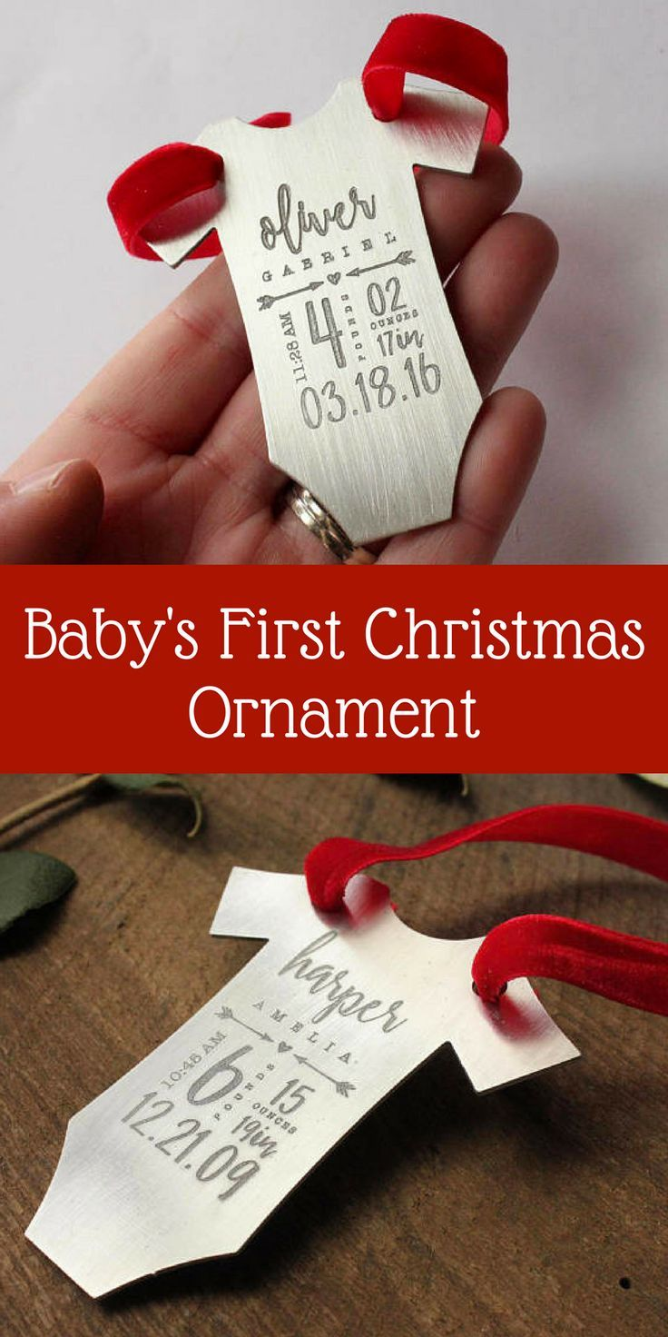 I want this for my babies!!!...even if it's not their first Christmas anymore. Such a cute way to remember. Unique baby's first Christmas ornament with birth stats. Baby's First Christmas Ornament | Birth Stats Ornament | Baby Ornament | Christmas Decorations | Holiday Decor | Tag You're It Jewelry #affiliate