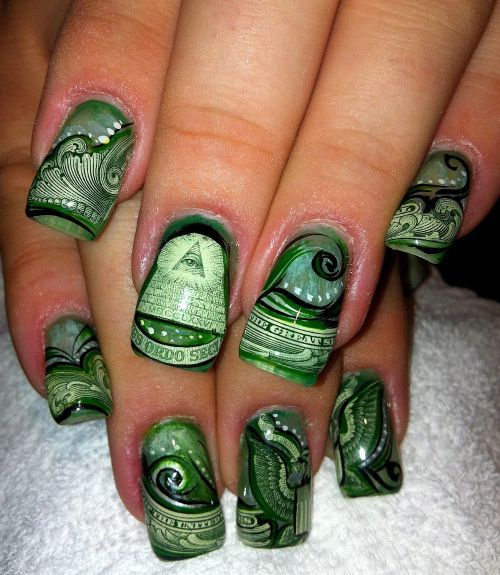 Currency: Nails Art, Acrylics Nails, Paisley Prints, Money Maker, Green Nails, Prints Nails, Amazing Nails, Money Nails, Fantastic Nails
