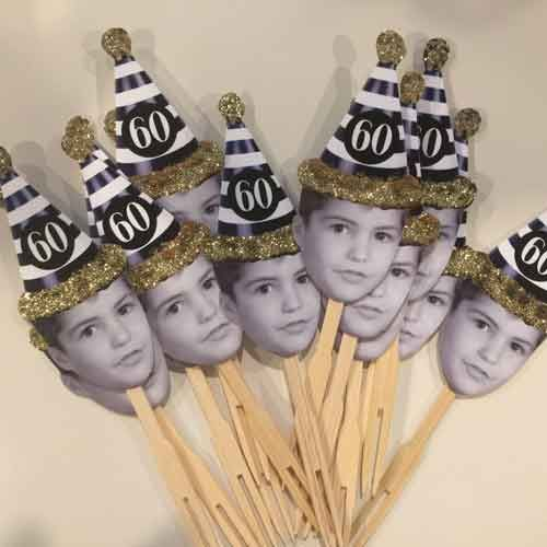 60th birthday party photo cupcake toppers