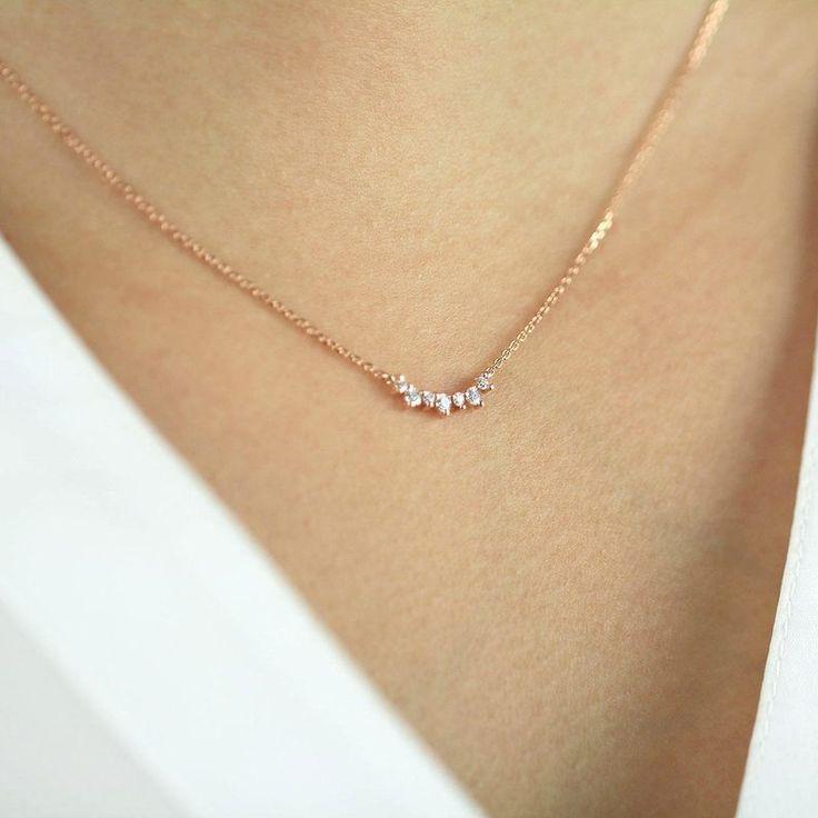 Diamond Necklace, Unique Diamond Cluster Necklace, Natural Brilliant Cut Diamond Necklace, 0.15 CTW. 7 Diamond Prong Set Necklace, Wedding