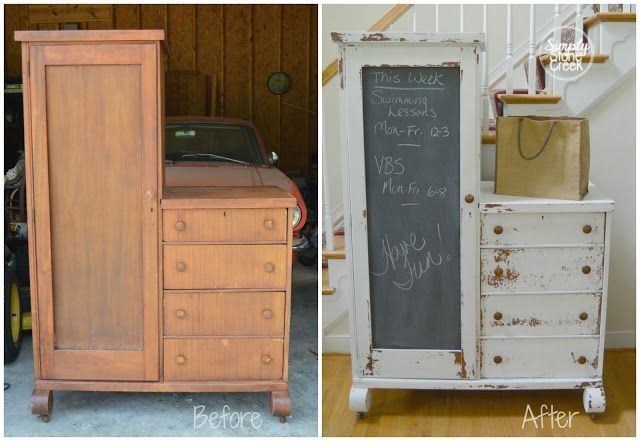 Repurposing an Antique Chifferobe using Miss Mustard Seed's Milk Paint in Grain Sack