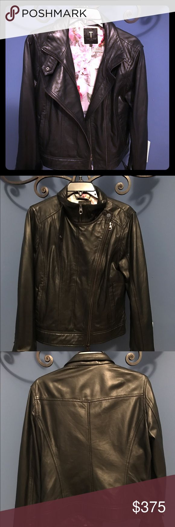 Ted Baker Women's Black Leather Jacket NWOT. Never worn. Sharp jacket! Pair with bright silk blouse and jeans. Ted Baker London Jackets & Coats