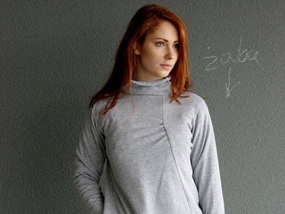 SweaterGray Sweater Asymmetrical Sweater Warm by clothesNavaho
