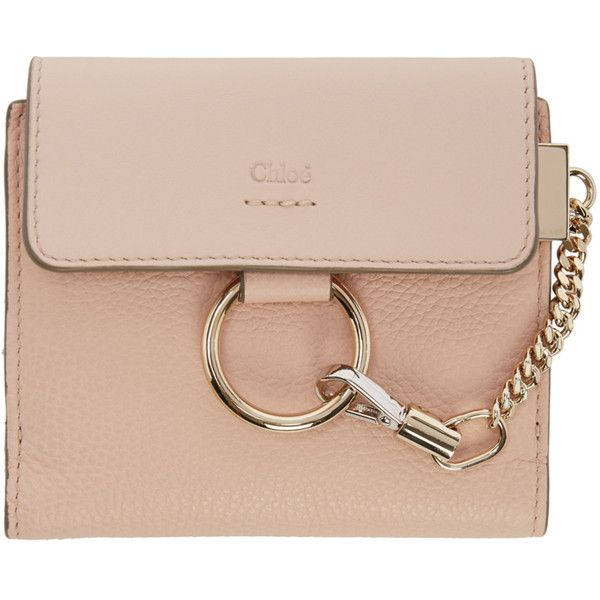 Chloé Pink Small Faye Wallet ($395) ❤ liked on Polyvore featuring bags, wallets, pink, credit card holder wallet, bi fold wallet, snap bag, chloe bag and snap closure wallet