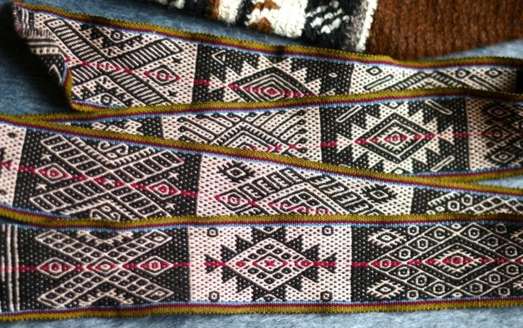 Belt – Patabamba A very fine belt in Andean pebble weave from Patabamba, Peru. Loraypo (geometric shapes), animals and chaskas (stars) are intricately woven with a blend of cotton and alpaca and natural dyes.