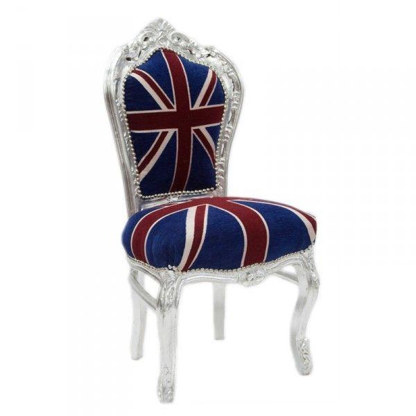 Casa Padrino Barock Esszimmer Stuhl Union Jack Silber Mobel Antik Stil Barock Stil Stuhle