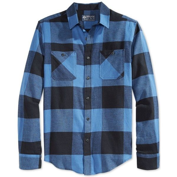 American Rag Frosty Flannel Shirt (12 CAD) ❤ liked on Polyvore featuring men's fashion, men's clothing, men's shirts, men's casual shirts, tropic blue, mens oversized shirt, mens blue flannel shirt, mens blue shirt, mens checkered shirts and mens flannel shirts