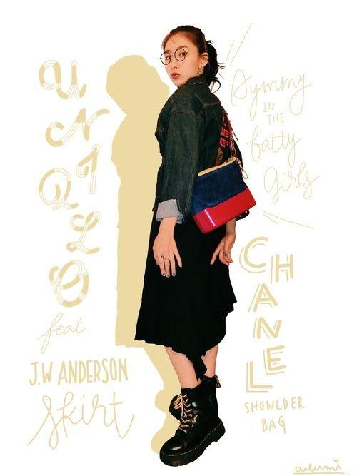 リクエストにあった、UNIQLOとJ.W. ANDERSONのコラボスカートのコーデです。 Gジャン