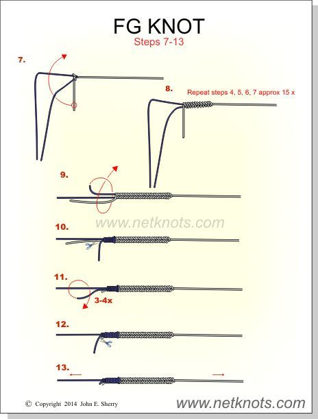 FG Knot steps 7 - 13  I use this to tie braid to leader                                                                                                                                                                                 More