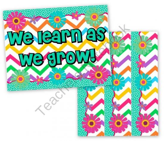 FREE Chevron Flower Themed Bulletin Board Border and Poster from FlapJack Ed Resources on TeachersNotebook.com (2 pages)