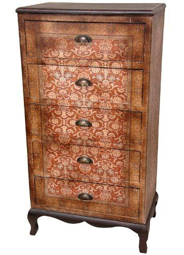Oriental Furniture Elegant European Style Decorative Furnishings, 45-Inch Olde-Worlde Vintage Five Drawer Lingerie Chest by ORIENTAL FURNITURE. $508.00. A beautifully decorated, narrow design chest of drawers, a classic design for a jewelry armoire or lingerie chest. well crafted with five drawers and metal drawer pulls, finished with attractively printed textured faux leather vinyl. to accent the beauty of the finish, the legs are finished in black lacquer, c...