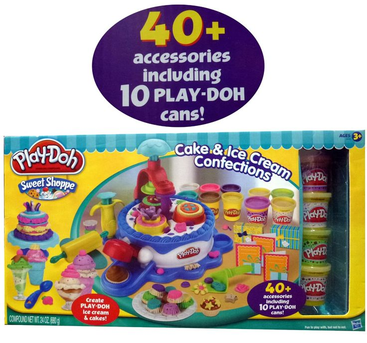 Amazon.com: Play-Doh Sweet Shoppe Cake & Ice Cream Confections 40+ Accessoried + 10 Cans of Play Doh: Toys & Games