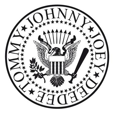 Amigo y fan de la banda, Arturo Vega se apropió de un logo tan serio como el del Departamento de Estado de Estados Unidos y lo retocó para convertirlo en el logo oficial de una banda más americana que su propia bandera: lo envolvió con los nombres de los músicos y cambió las solemnes flechas por un cotidiano bate de béisbol. Y listo.