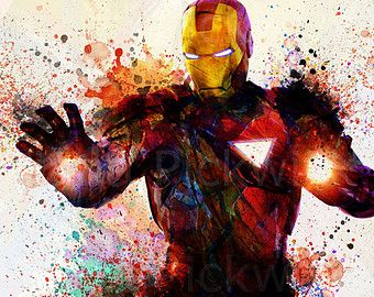 Das Avengers Marvel Comics A3 Aquarell digitale Poster Iron Man Tony Stark Super… – Lisa Hiemisch