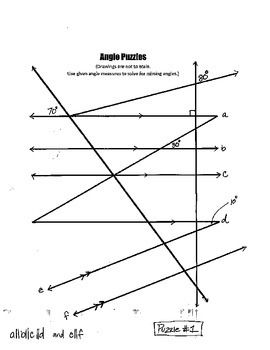 My first set of angles puzzles have been a hot seller so I wanted to post some new puzzles for those of you who have found them to be  helpful.  This particular set contains 7 angle puzzles with 7 complete answer keys.  In order to fill in the angle puzzles students must be familiar with the angle relationships formed by two parallel lines and a transversal.