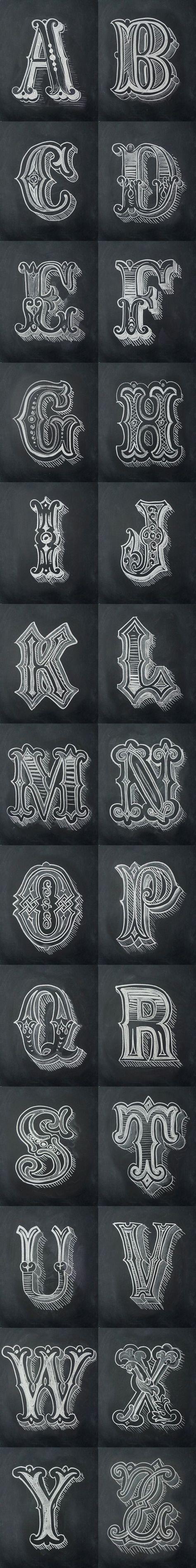 Chalk Alphabet by Antonio Rodrigues Jr #Art #Chalkboard