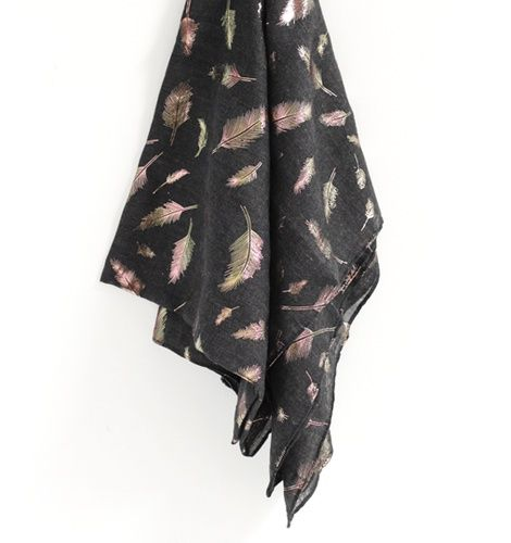 Gift Item | Black Metallic Feather Scarf - Many believe the symbol of a feather represents virtues such as charity, hope and faith. Feathers are also associated with the attainment of truth and wisdom from the higher realms.