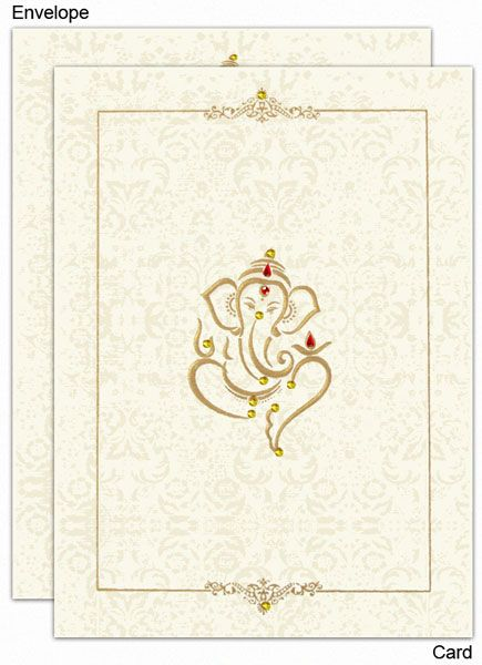 www.regalcards.com .Made from matt finish natural shade card stock this very sober and decent invitation card has just the right touch of grace. A beautiful embossed traditional image of Ganesh ji on the center front of the card and decorated with colorful rhinestones (kundans) along with a very attractive and decent border are enough to create an impact. Light shaded floral patterns all over the card front and matching envelope front too are very impressive. Card comes with 2 inserts.
