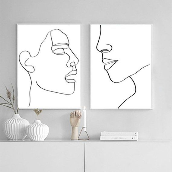 Woman Face Art Set Of 2 Prints Diptych Wall Art Printable Art Female Face Drawing Girl Line Art Modern Illustration Minimal Line Art Poster – Sp
