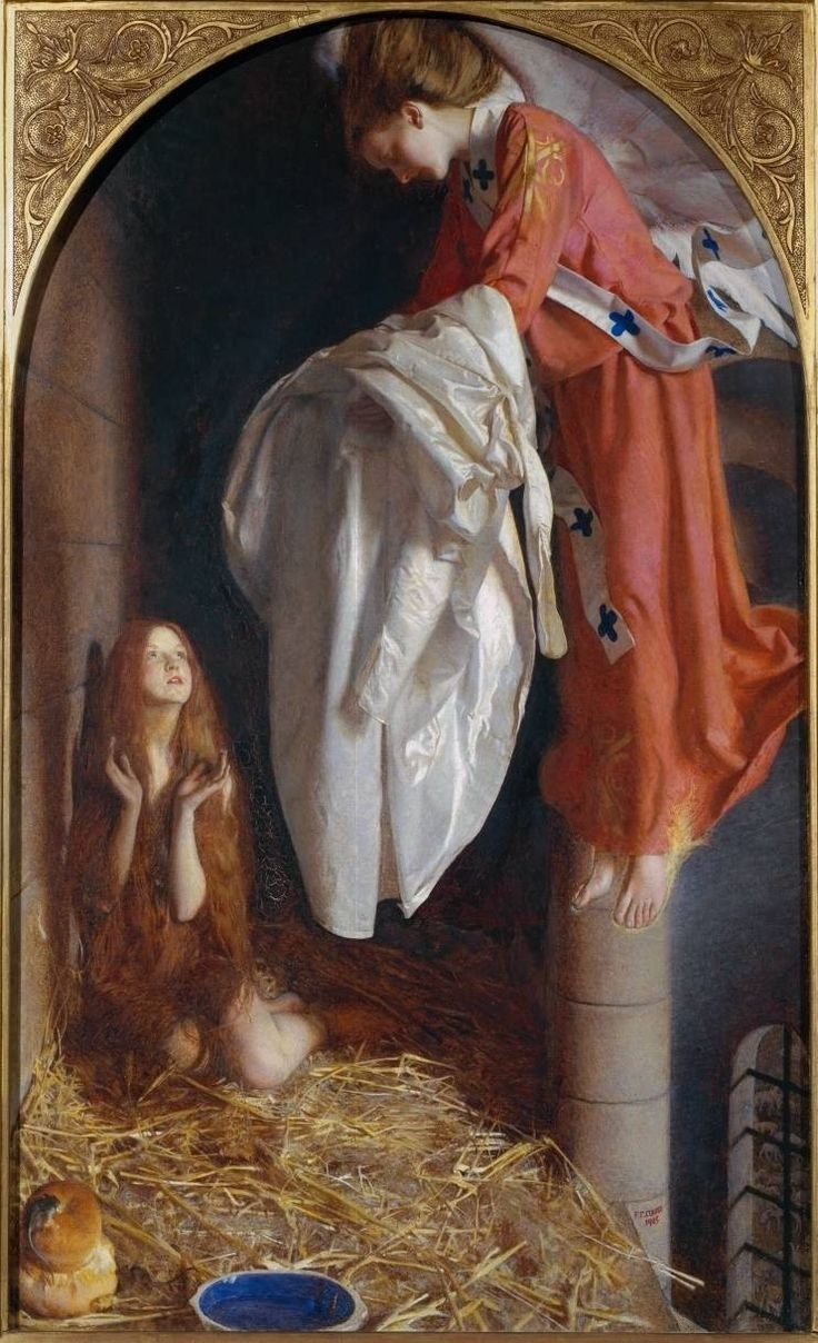 St. Agnes in Prison Receiving from Heaven the Shining White Garment, 1905. oil on canvas, English, Frank Cadogan Cowper