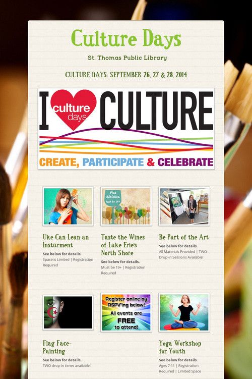 Culture Days 2014 @ St. Thomas Public Library. ALL FREE!!