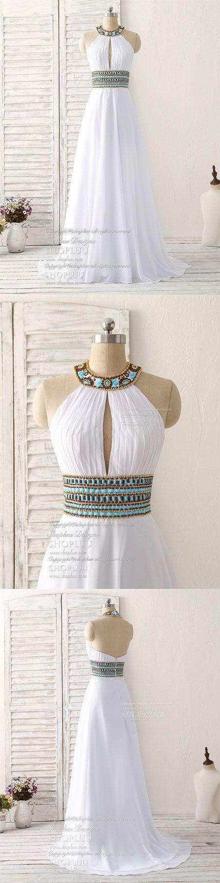 White chiffon beads long prom dress, white evening dress #EveningDresses